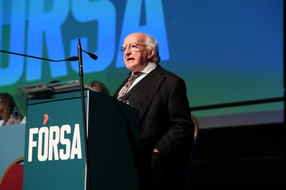 "The President said Fórsa had a crucial role to play in ""helping to bring about a vision of a fairer society and economy, one that promotes decency in the labour market."""